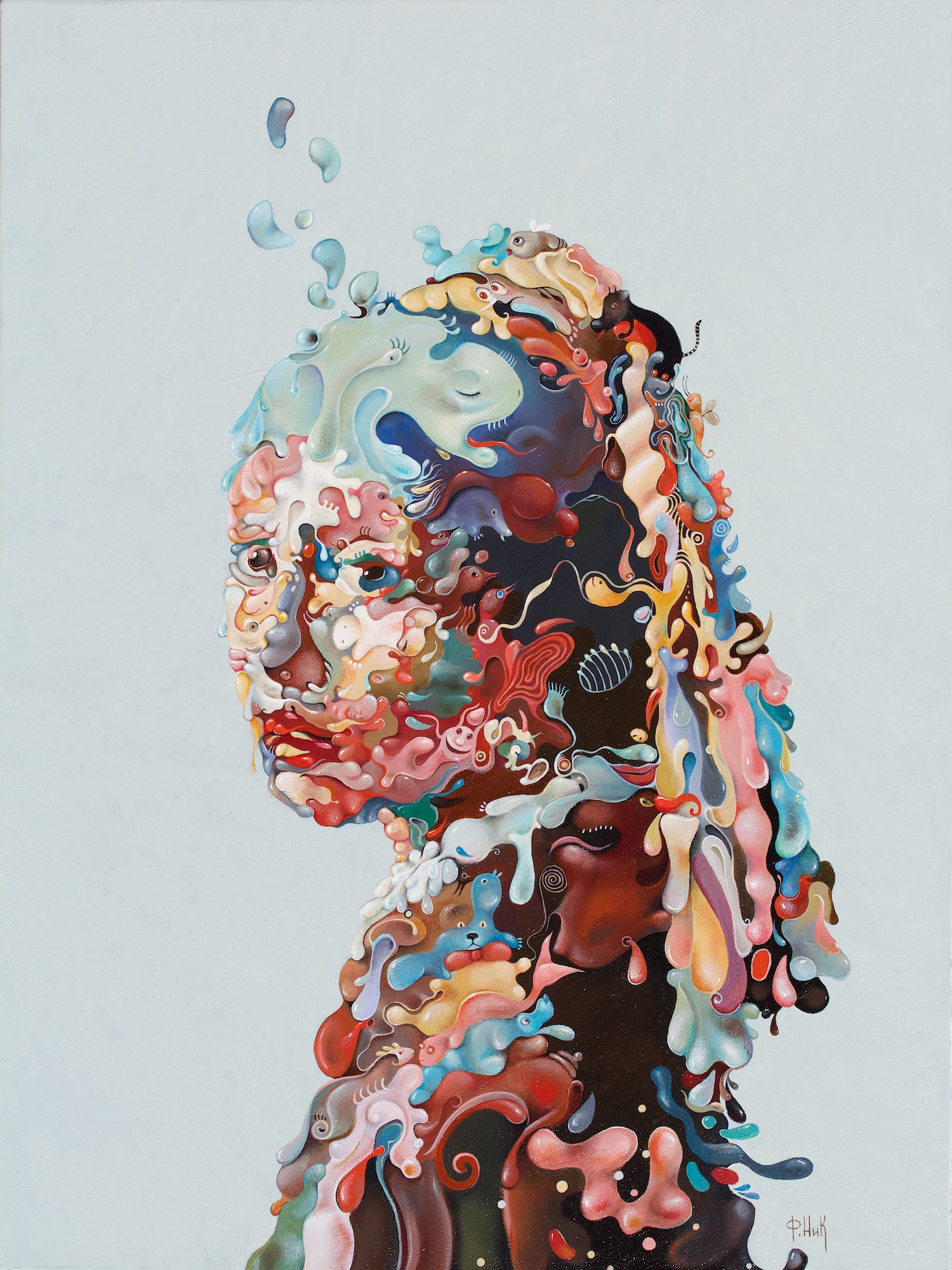 Nick Fedaeff 'Your painted smile' Oil on Canvas 101x76 #14966
