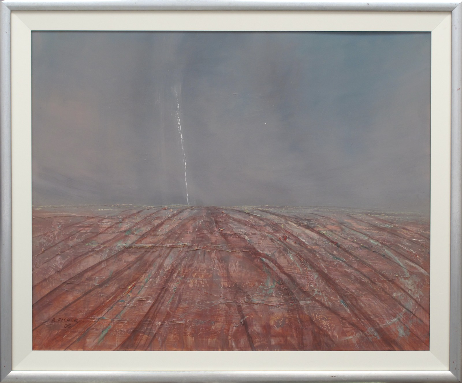 Robert Fisher. Storm Channel Country. 97cm x 116cm #13000