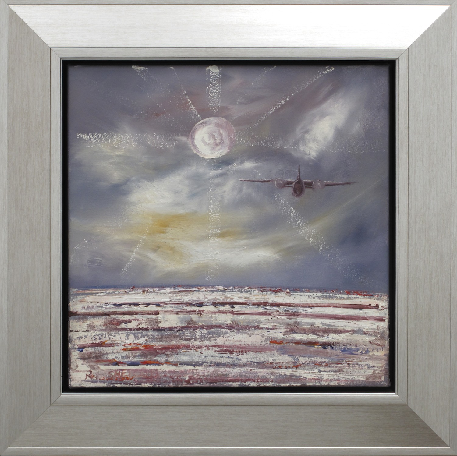 Robert Fisher. Last Flight Lake Eyre Moon I. 65cm x 65cm #9570.