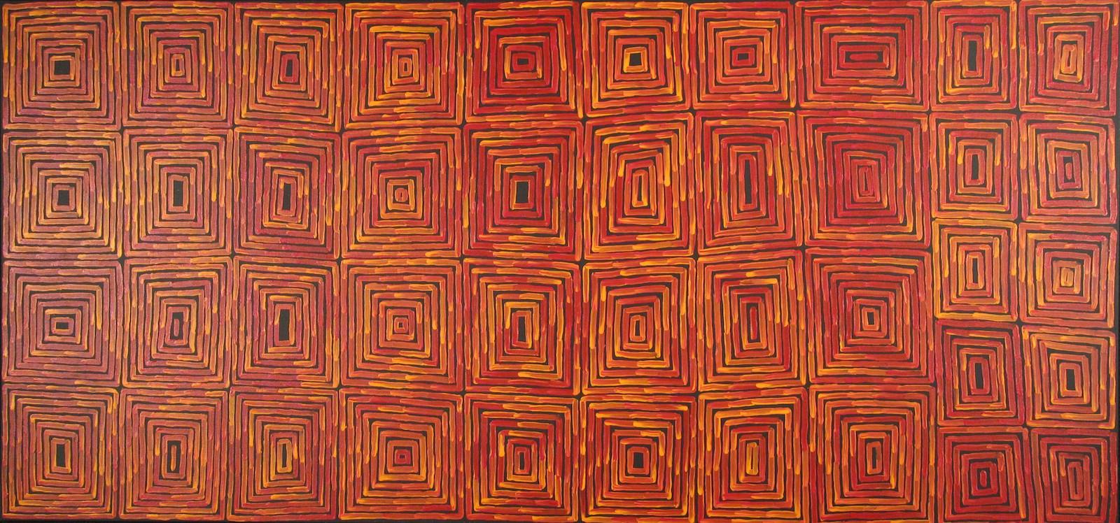 Ronnie Tjampintjinpa 'Tingari' Acrylic on Linen 110cm x 232cm #14523