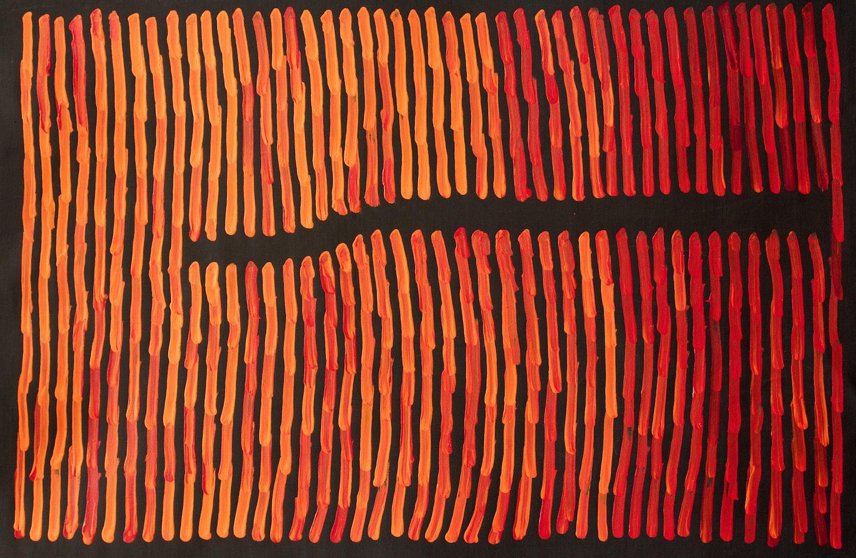 Ronnie Tjampitjinpa 'Fire' 90cm x 60cm Acrylic on Linen (2015)