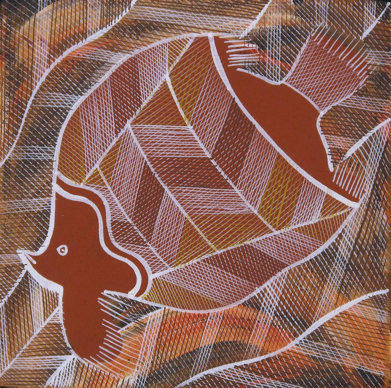 Edward Blitner 'Moonfish Spirit' Acrylic on Linen 30cm x 30cm (2014) #15045