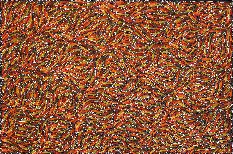 Rosemary Petyarre 'Bush Yam Seeds' Acrylic on Linen 90cm x 60cm #15079