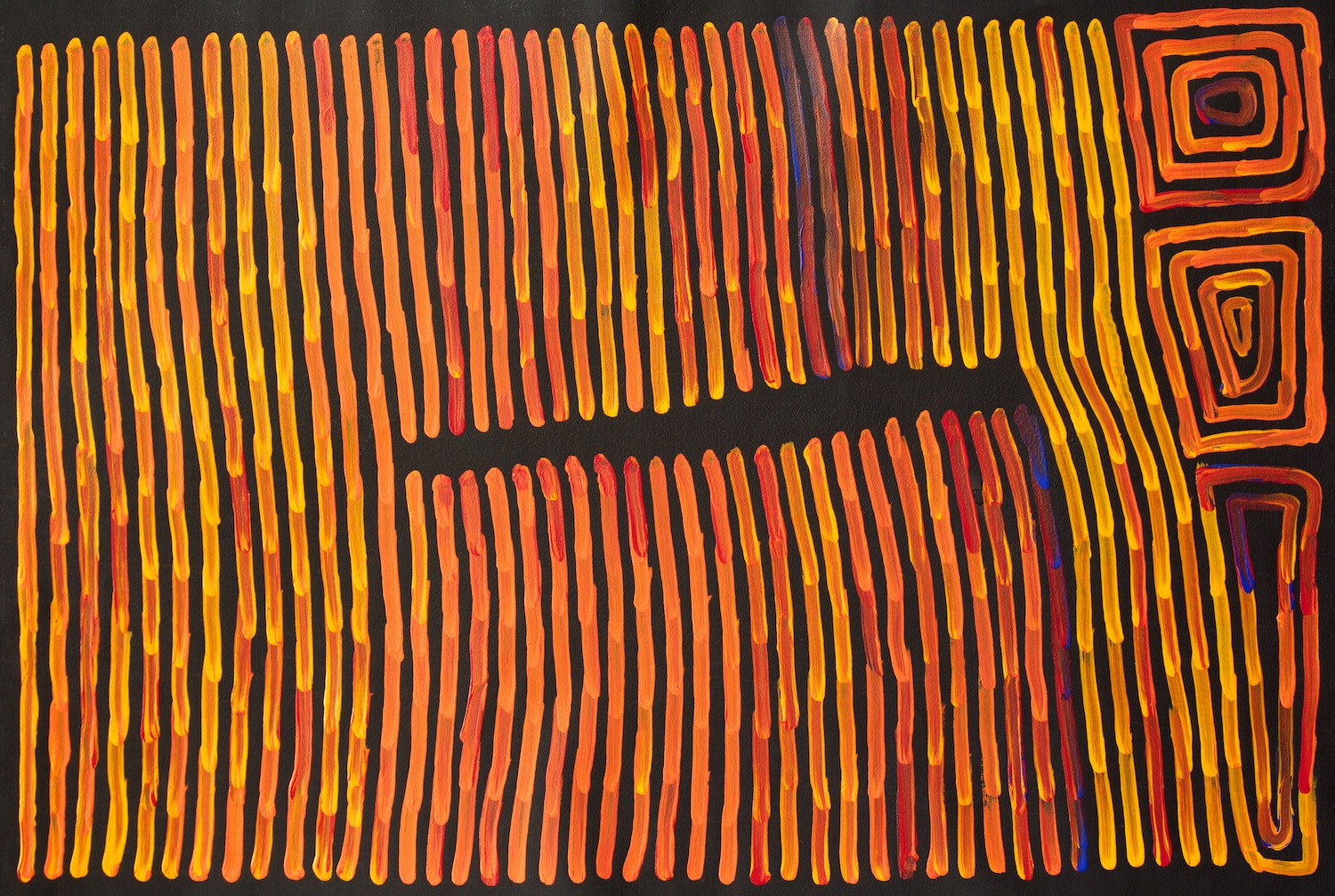 Ronnie Tjampitjinpa 'Fire and Tingari' 90cm x 60cm Acrylic on Linen (2015)
