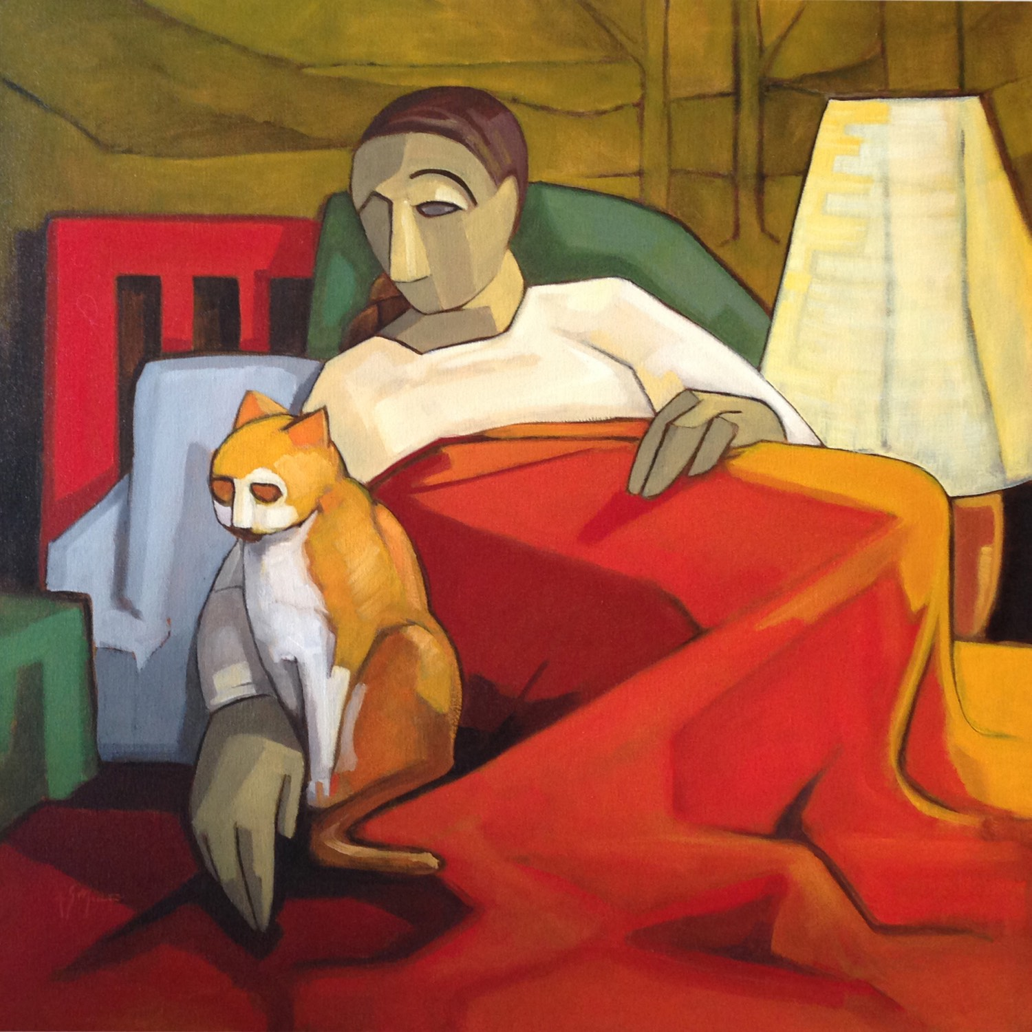 Sandro Nocentini - 2014 Woman with Cat Oil on Canvas 76cm x 76cm