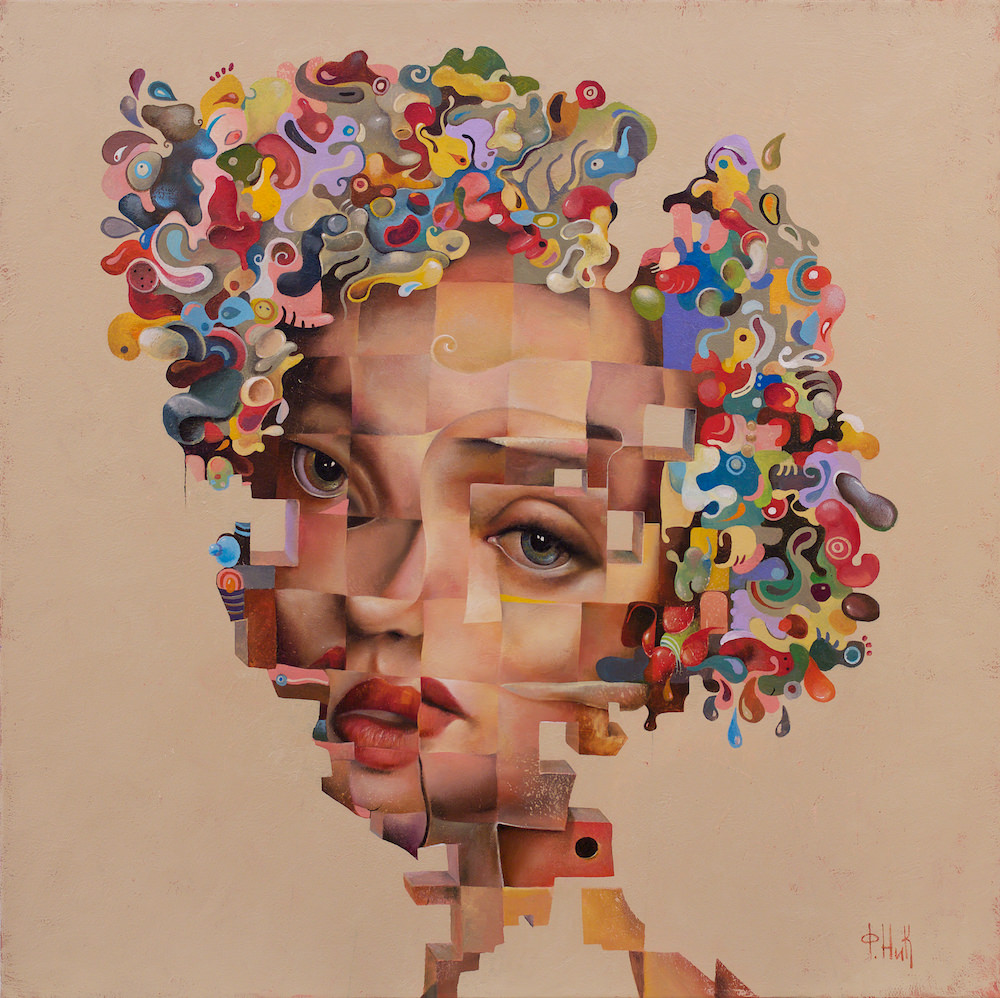 Nick Fedaeff 'Untitled' oil on canvas 76 x 76cm #15249