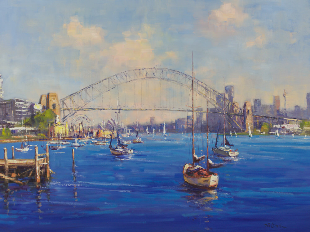 Ted Lewis ' Looking to the Bridge' oil 102x76 #15274