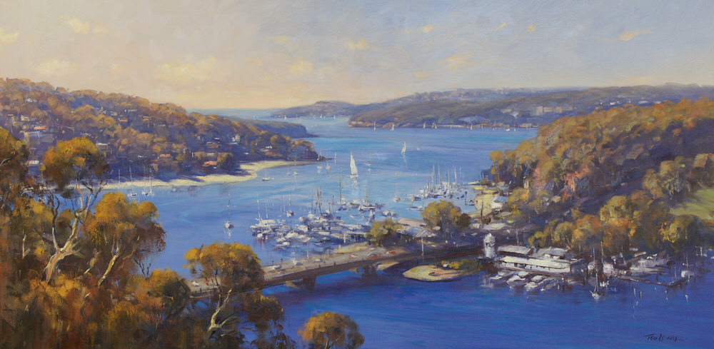 #15272 Ted Lewis ' Across the Spit the Harbour' oil 122x60