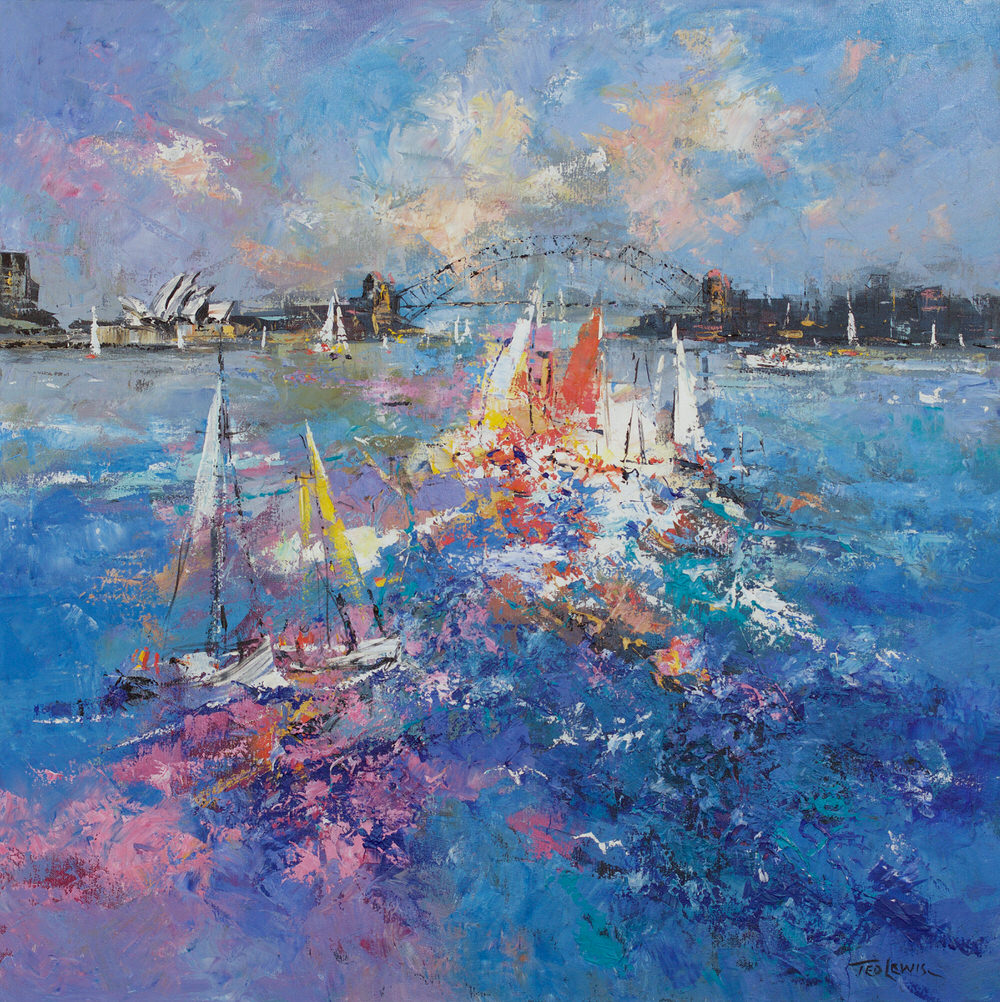 #15273 Ted Lewis ' Harbour Impressions' oil 91x91