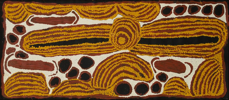 Ningura Napurrula 'Women's Ceremony' A painting depicting a sacred place with women gathered near a waterhole for ceremony.