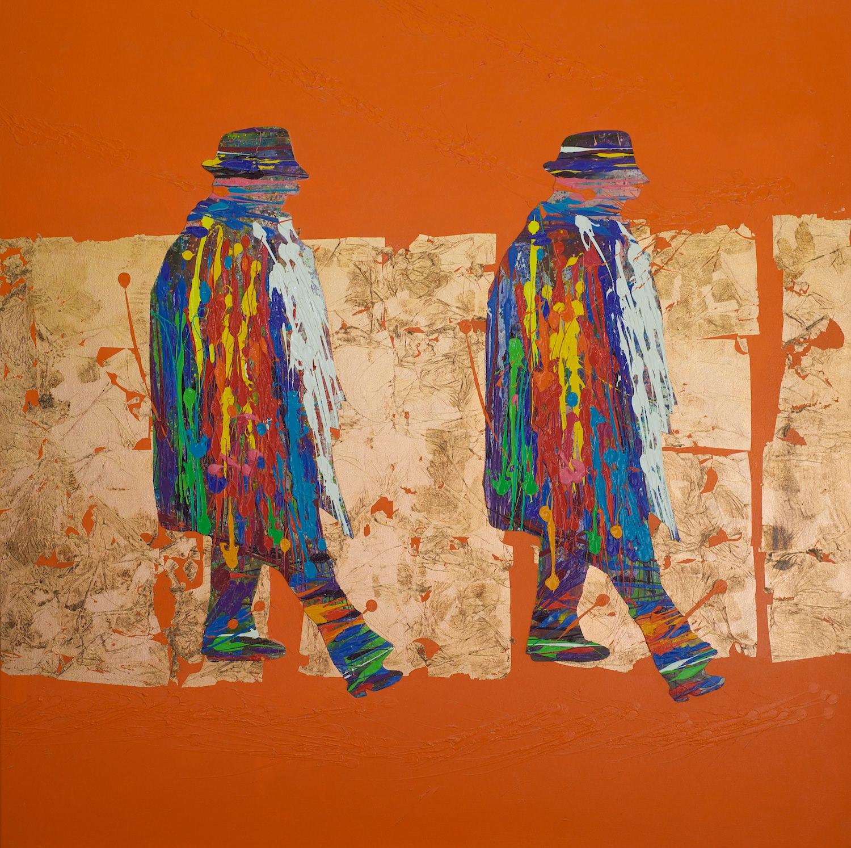 Natino Chirico  Federico Fellini  120cm x 120cm Acrylic and Mixed Media on Canvas