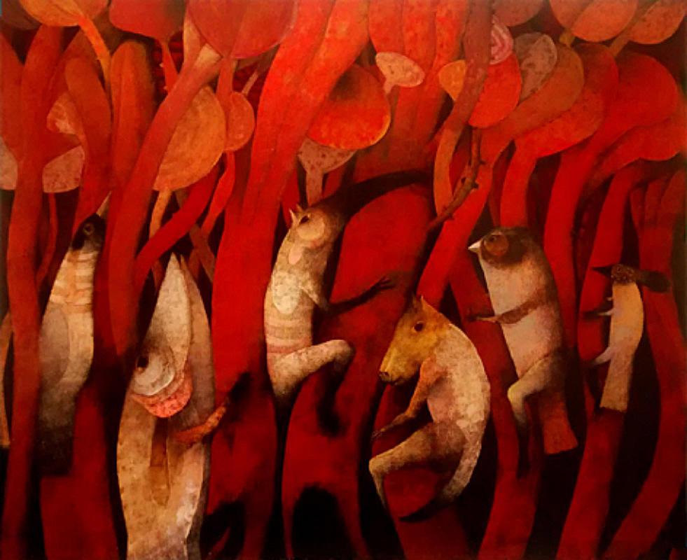 Joselito Sabogal Magical Forest Oil 108 x 88 cm