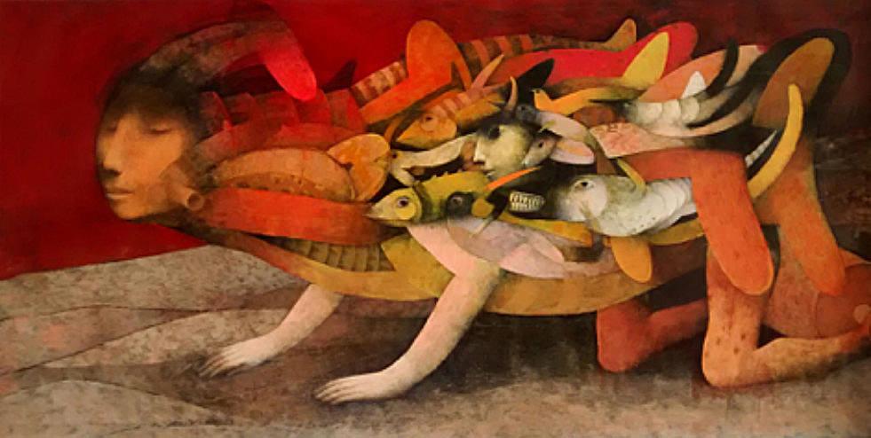 Joselito Sabogal The Great Journey Oil 138 x 69 cm