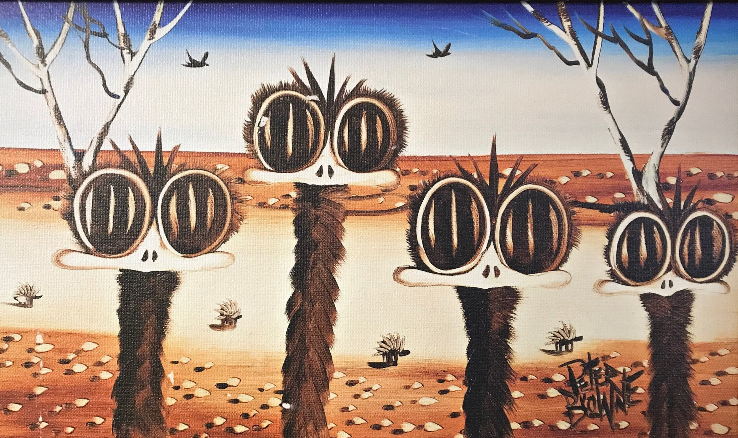 Peter Browne Emu Family Giclee on canvas 31 x 46 cm