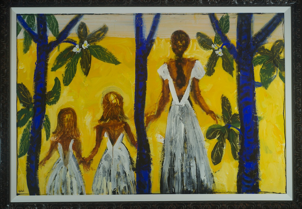 English born Australian based artist John Maitland creates his work outside, deliberately exposing the works to the harsh elements of Australian weather. This work shows us three female figures facing away from the viewer on a glowing yellow background. In the painting three blue tree trunks, serve as a framing device and also echo the figures in-between them.