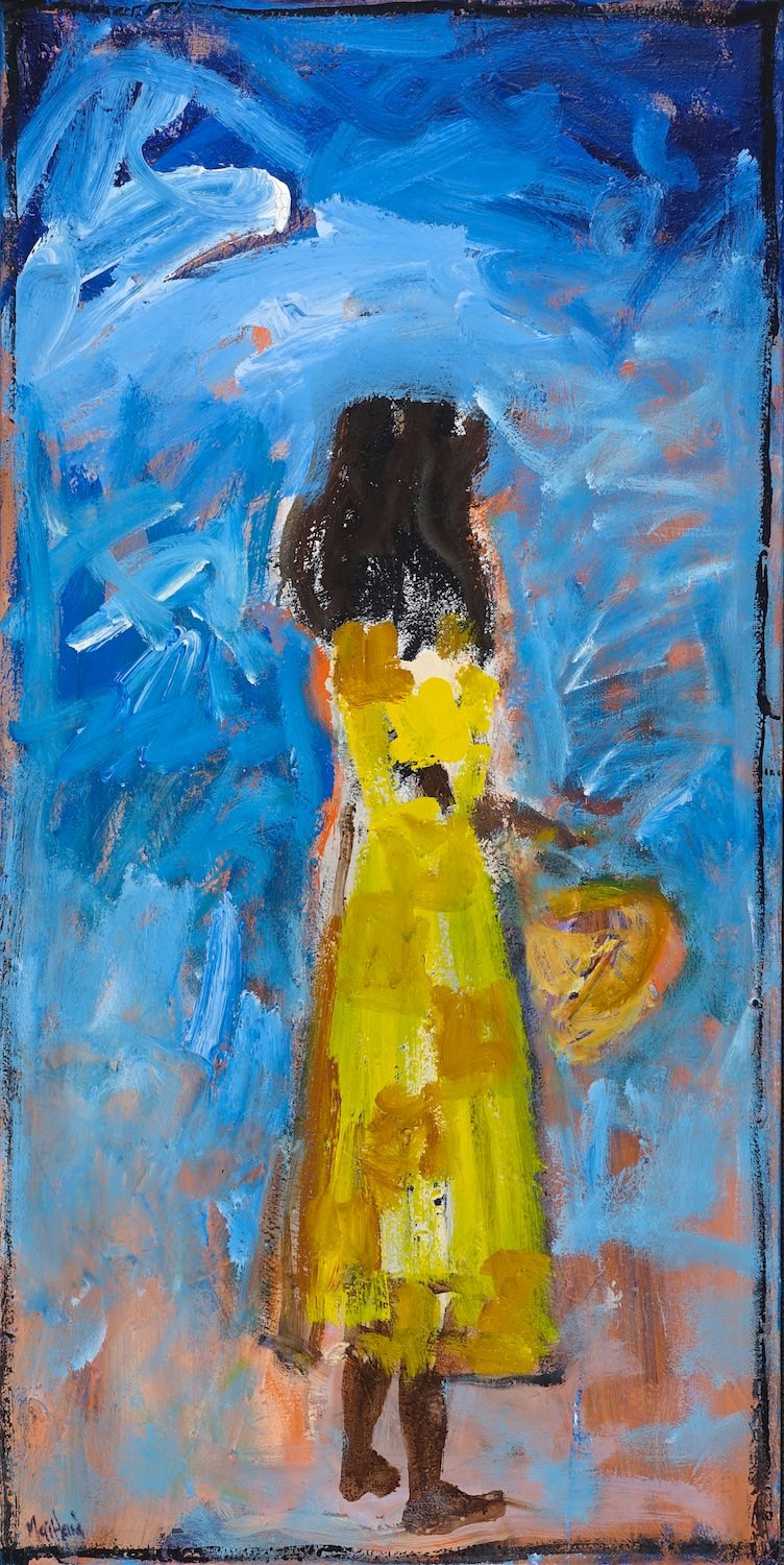 English born Australian based artist John Maitland creates his work outside, deliberately exposing the works to the harsh elements of Australian weather. This work uses his signature broad brushstrokes to portray a single female figure facing away from the viewer. Her vivid yellow dress captures the eye and then leads us around the painting into the swirling blue background.