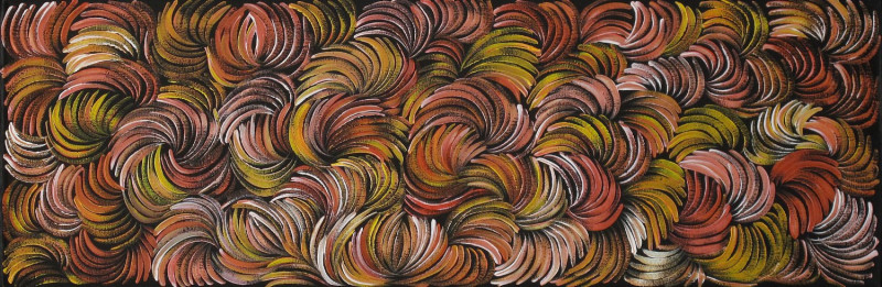 """Aborginal artist Margaret Scobie was born around 1948 in Woola Downs, a community in the Northern Territory.Margaret grew up surrounded by family members who were respected artists, such as the well respected Petyarre sisters and famous Emily Kngwarreye.In this painting we see one of Margaret's well known """"Bush Medicine Leaves"""" Dreaming paintings; the painting is vivid, almost vibrating with colour and the flowing brushstrokes give an impression of leaves blowing in the wind around the desert. The main Dreamings Margaret's works depict include the bush medicine leaves, spinifex grass or Awelye (Women's Dreaming)."""