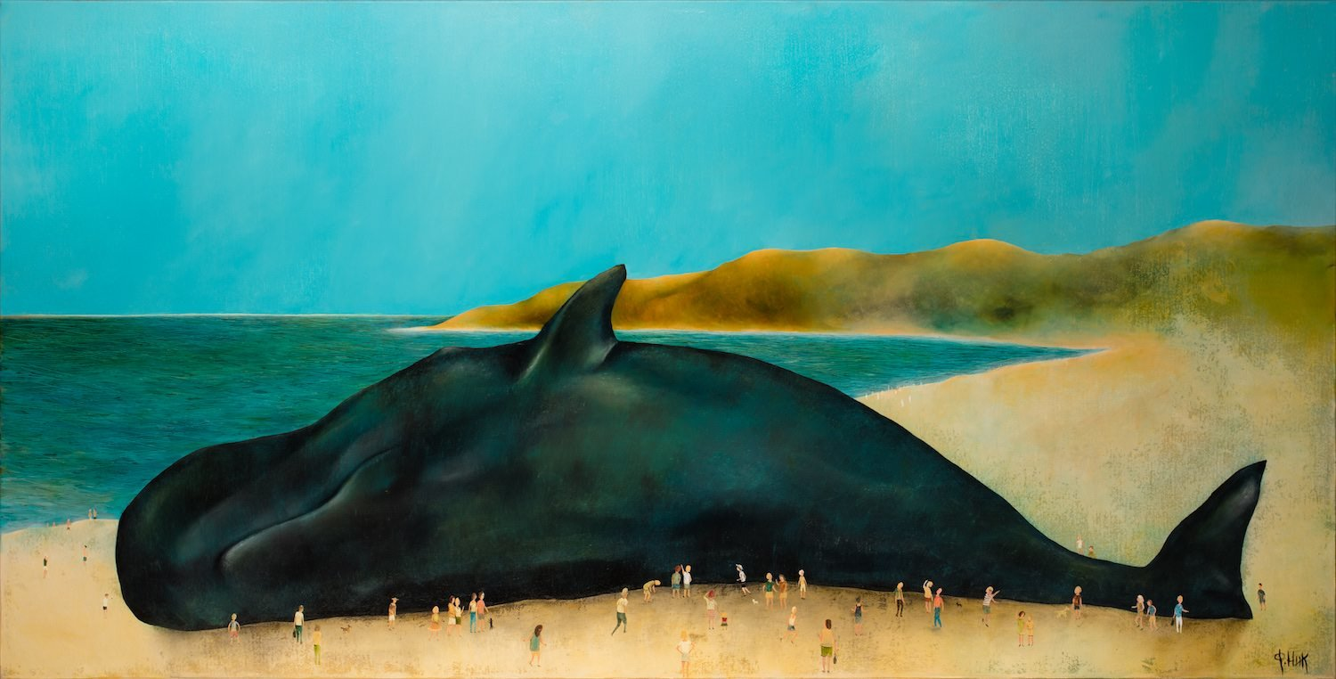 Nick Fedaeff Man and whale mixed media 152 x 76 cm