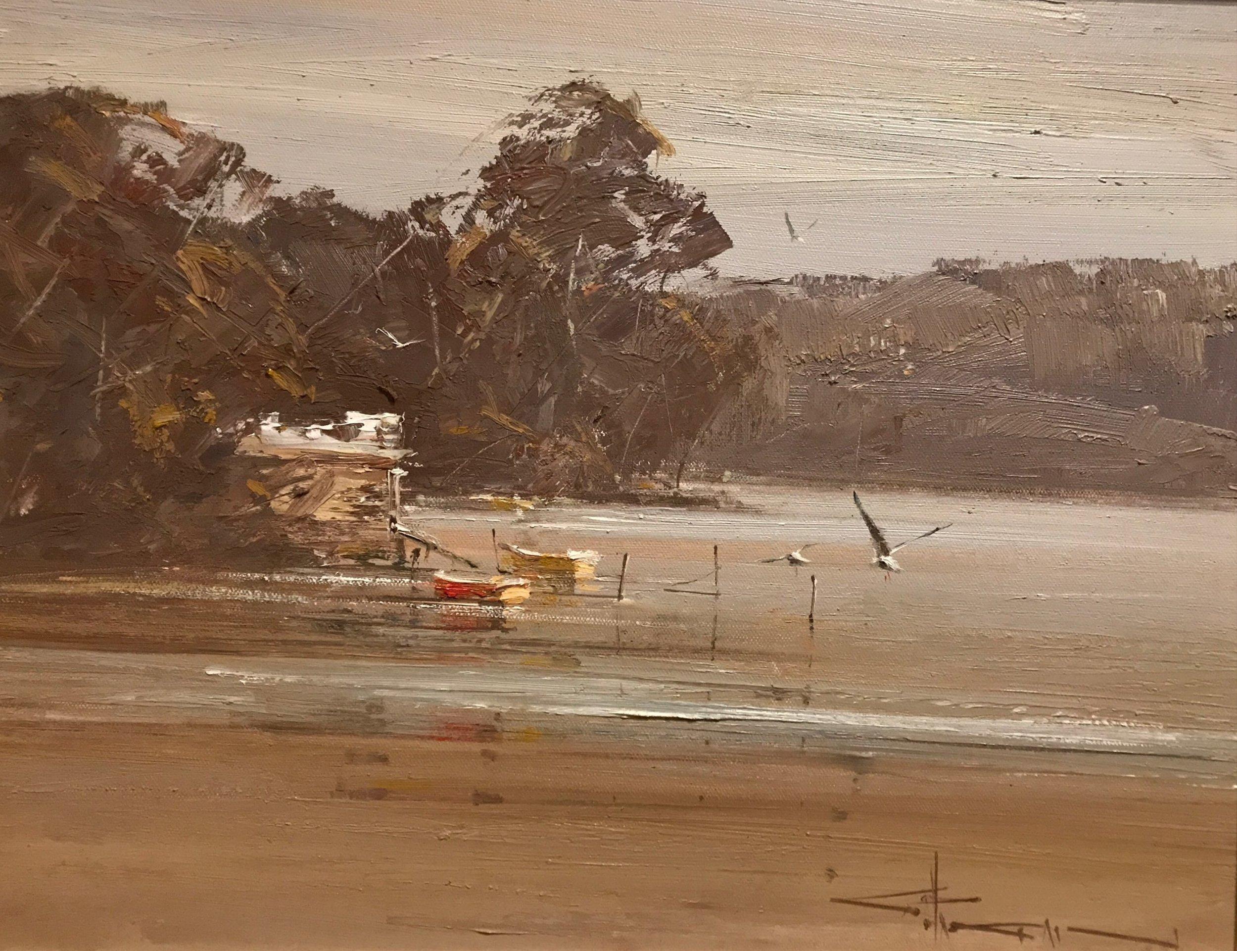 Robert Hagan Quiet Estuary Oil 51 x 61 cm