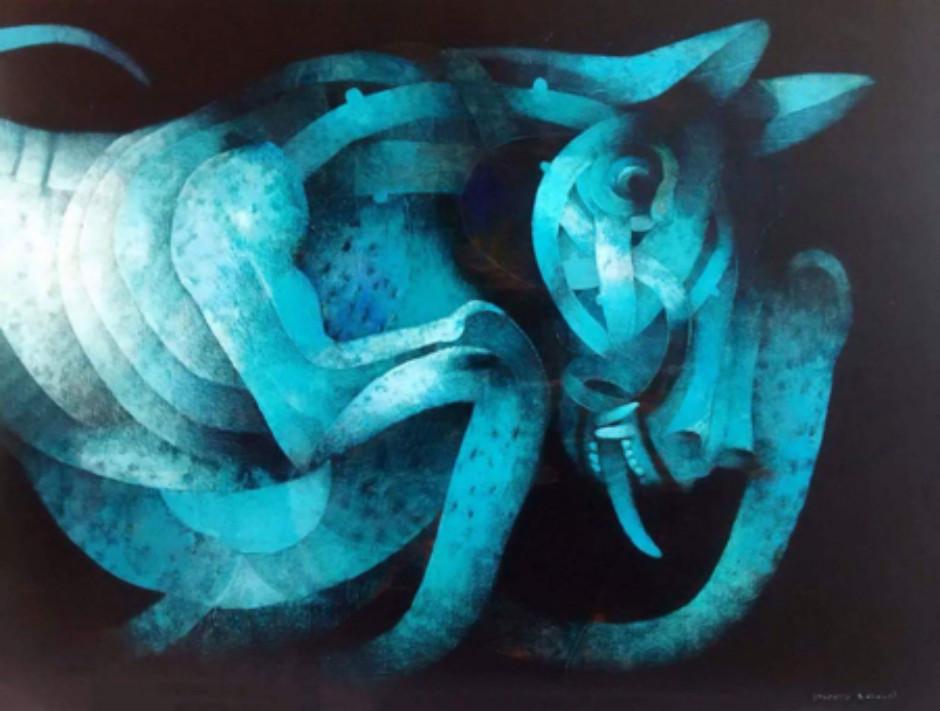 Joselito Sabogal ' Surreal Blue Dog' #17130