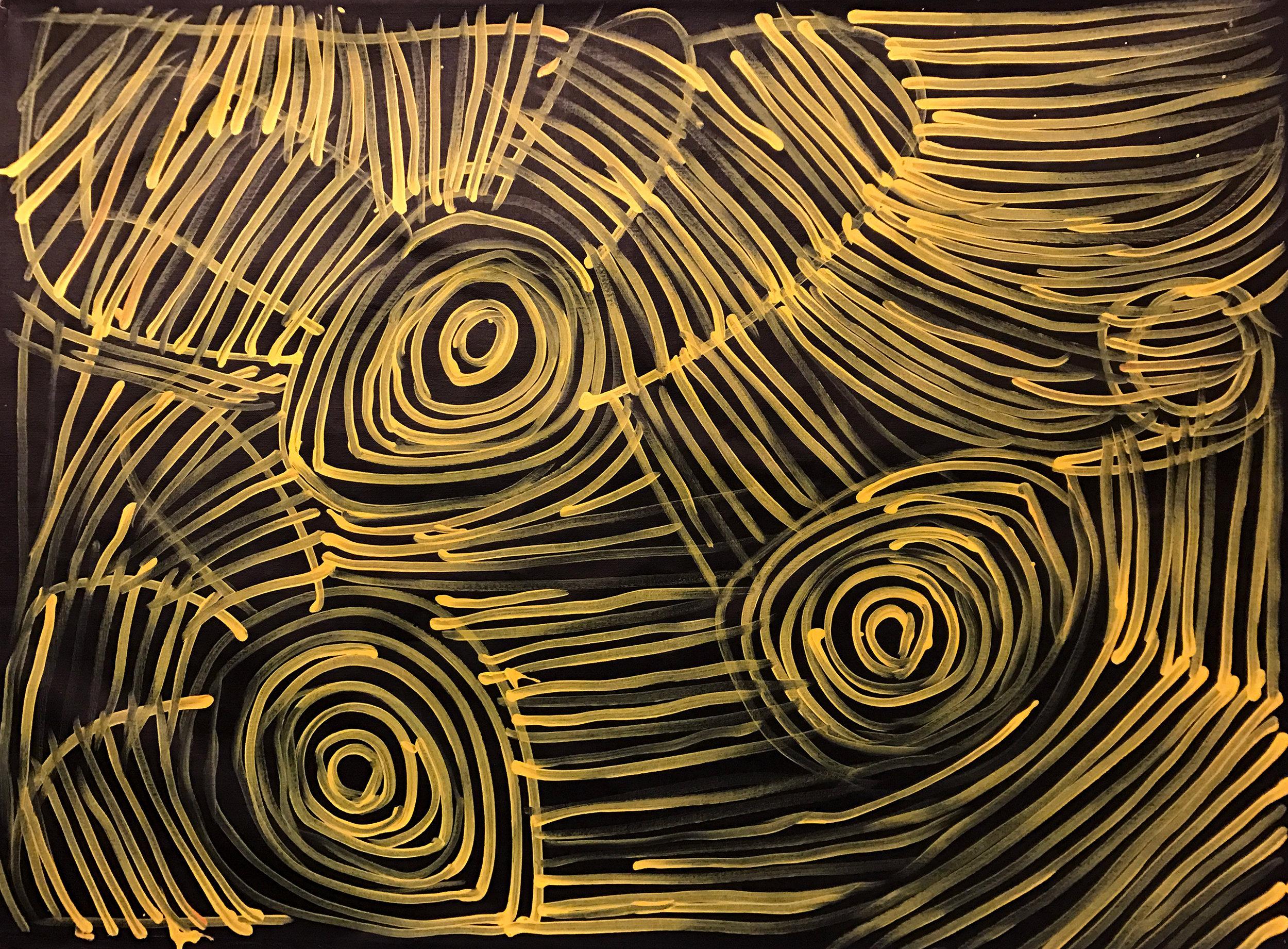 Minnie Pwerle Awelye - Ceremonial Body Paint acrylic 90 x 120 cm #17038