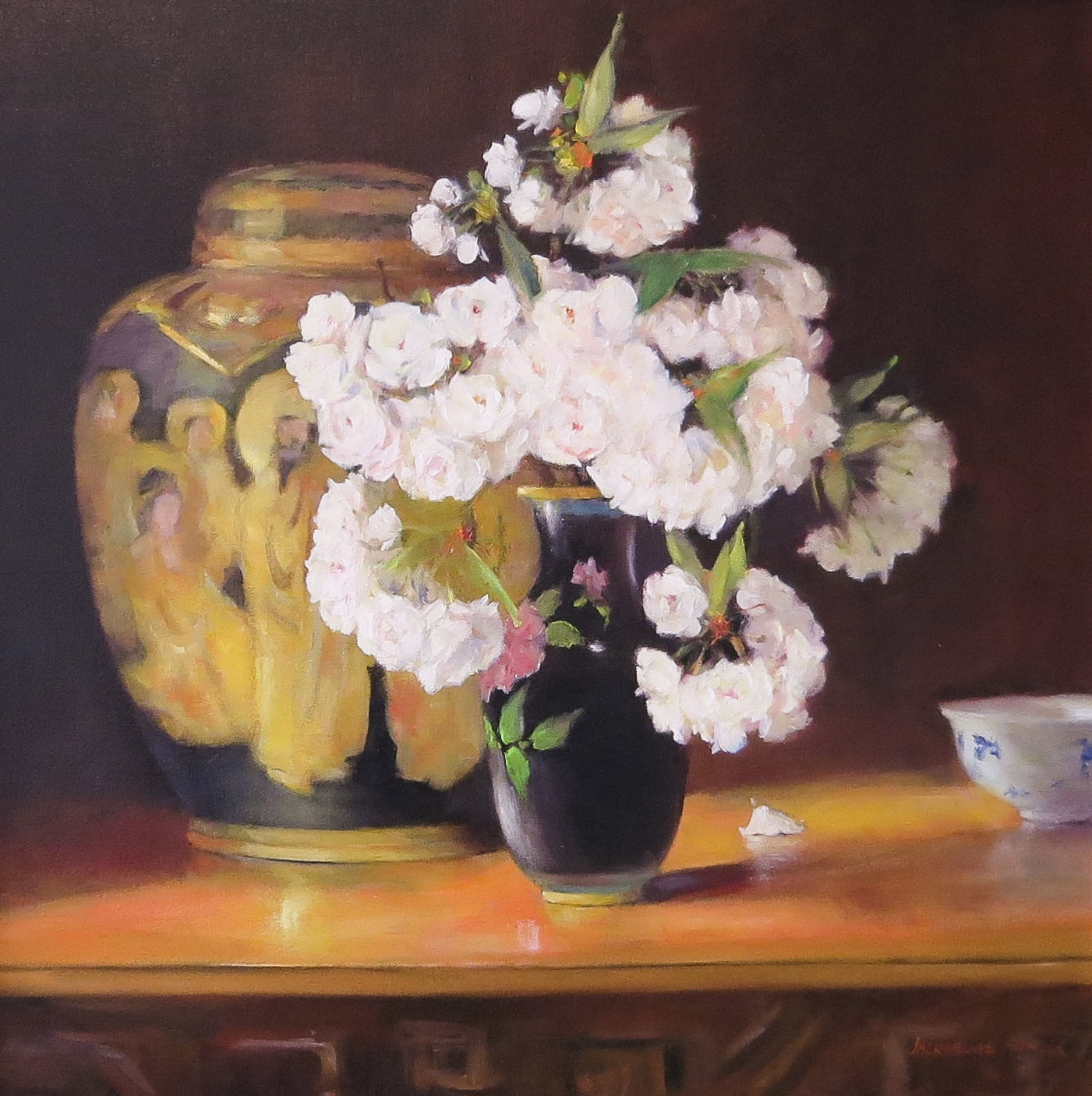Jacqueline FowlerSatsuma Vase with Blossoms, 2018 Oil on Canvas69 x 69 cm.jpg