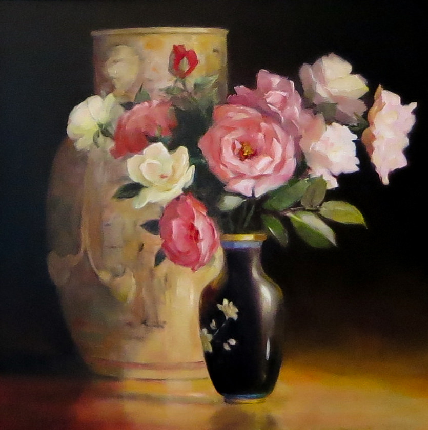 Jacqueline FowlerChinese Ribbon Vase with Roses, 2018 Oil on Canvas58 x 68 cm.jpg