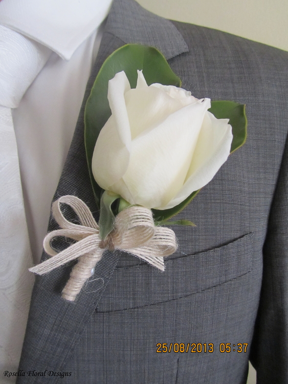 White Rose with Magnolia Leaf