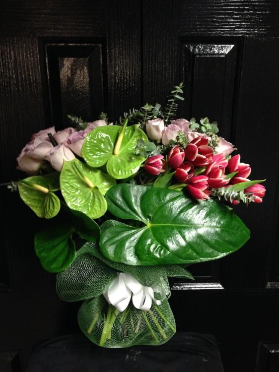 Modern Bouquet, tulips, lilies, roses.JPG