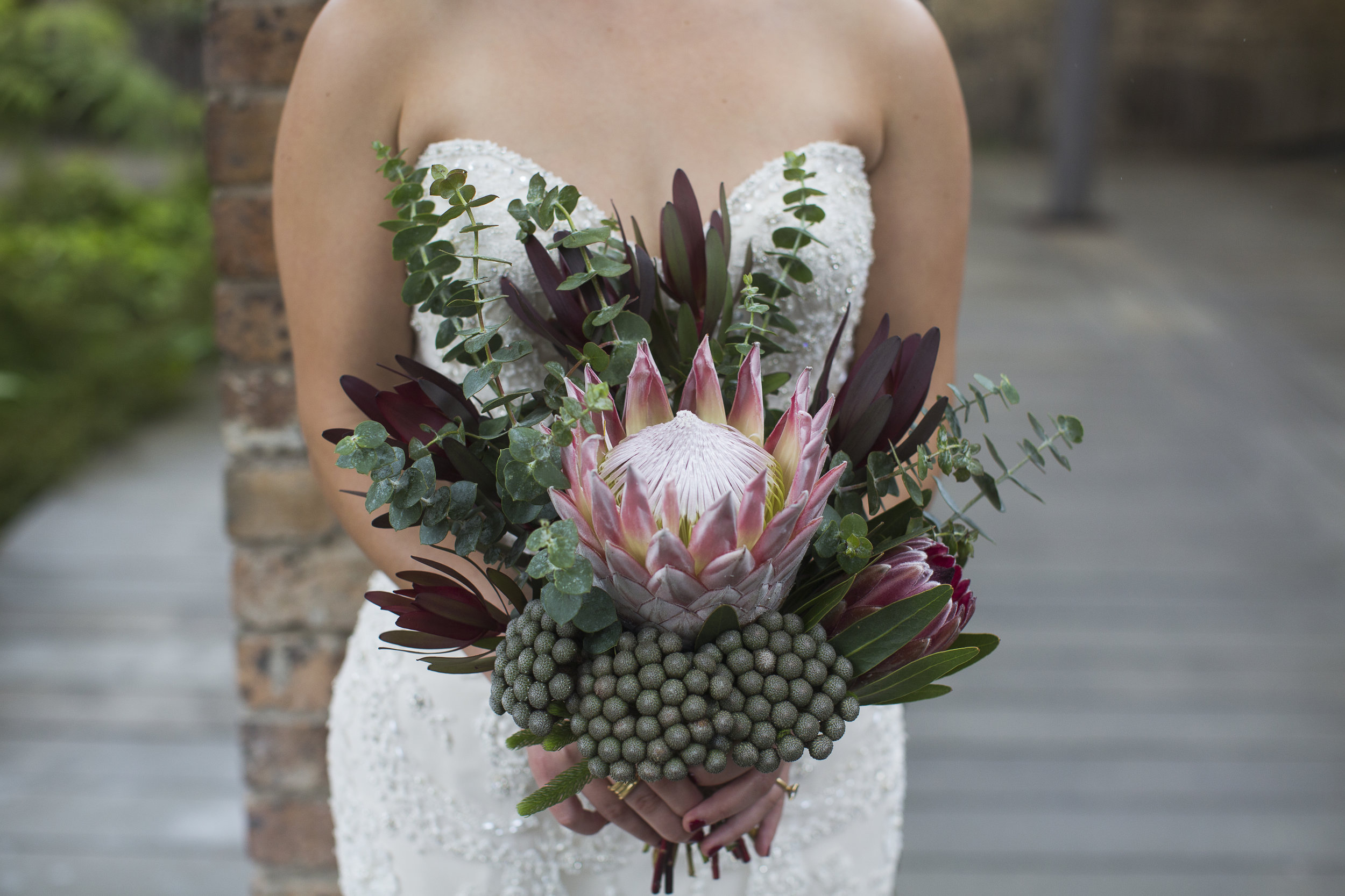 Bridal bouquet Australian natives king protea.jpg