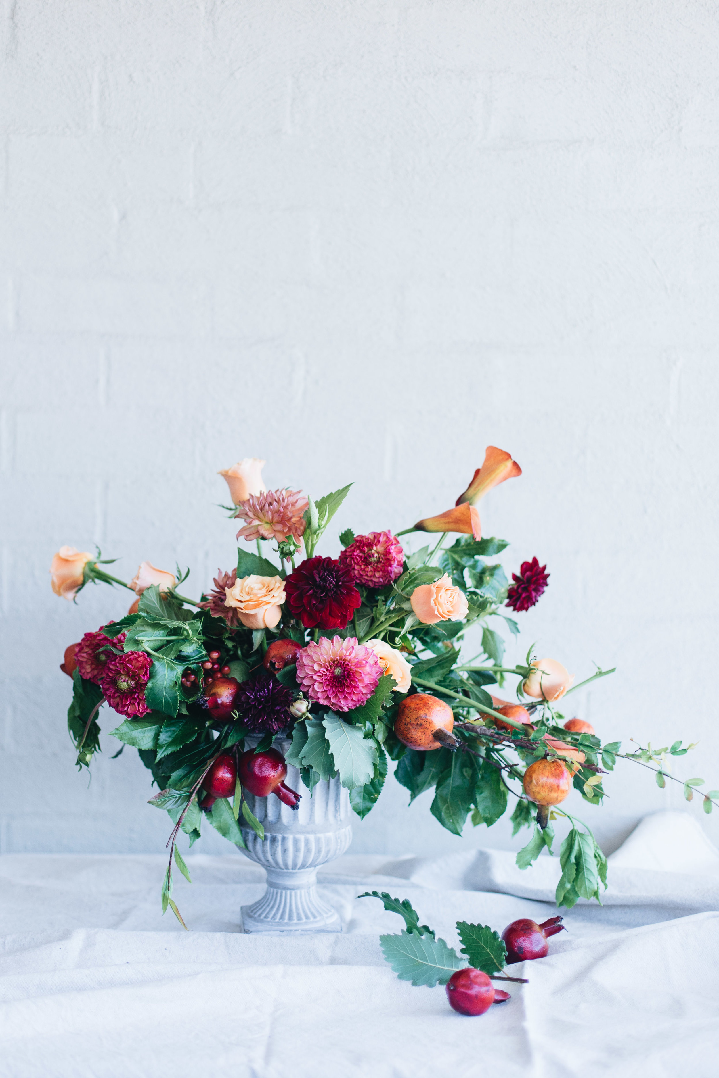 Floral centerpiece with pomengranate.JPG