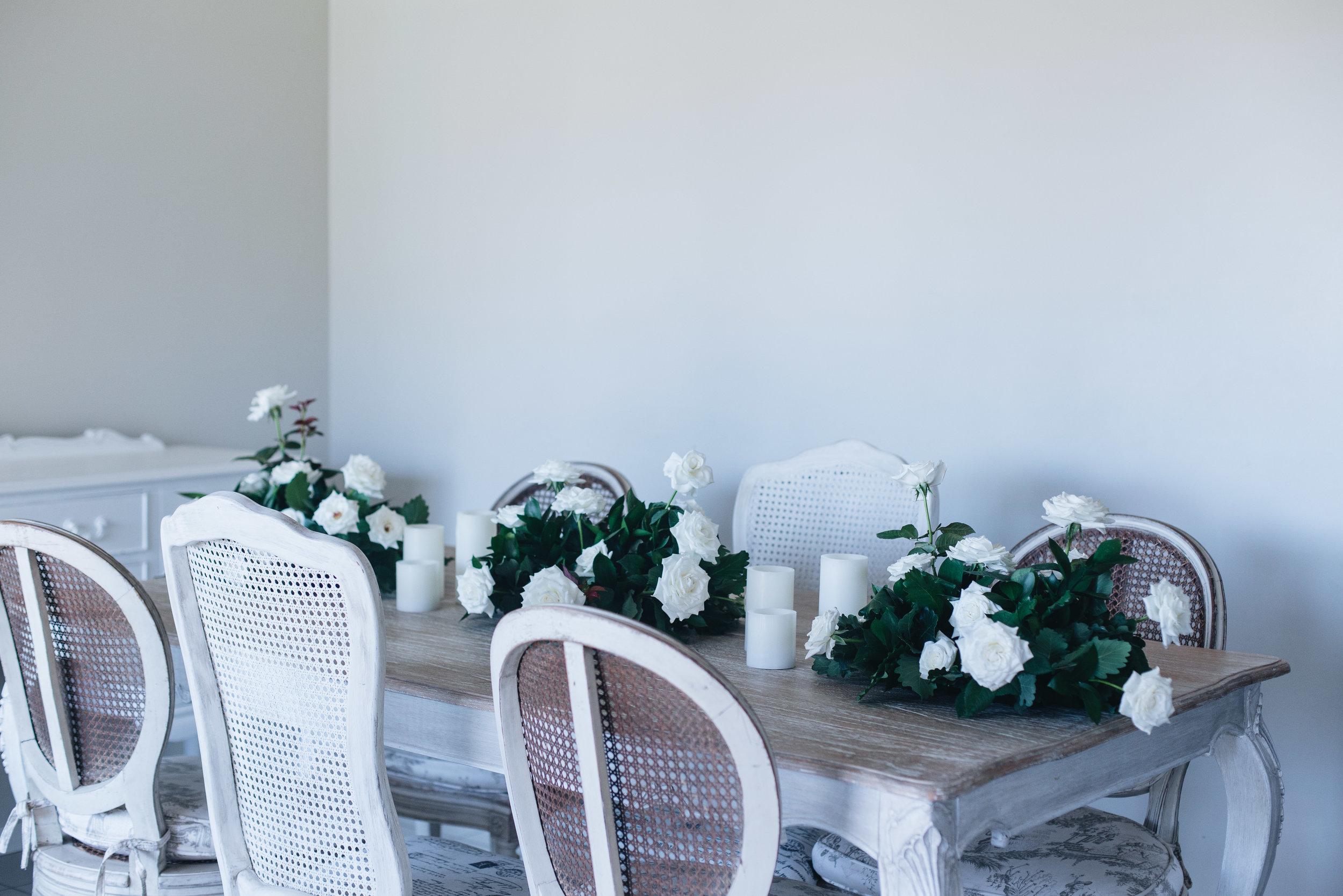 bridal table flowers white & green.JPG