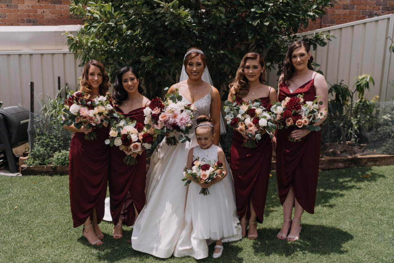 Burgundy bridsmaid's dresses bouquets.jpg