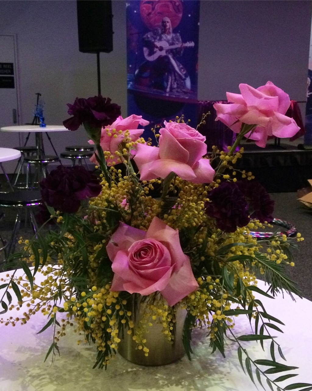 Pink, yellow, purple floral table centerpiece.jpg