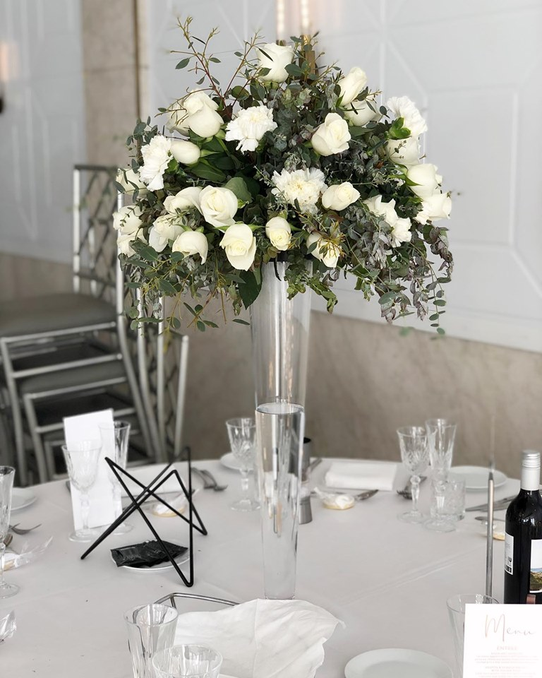 Tall table centerpiece white and gren.jpg