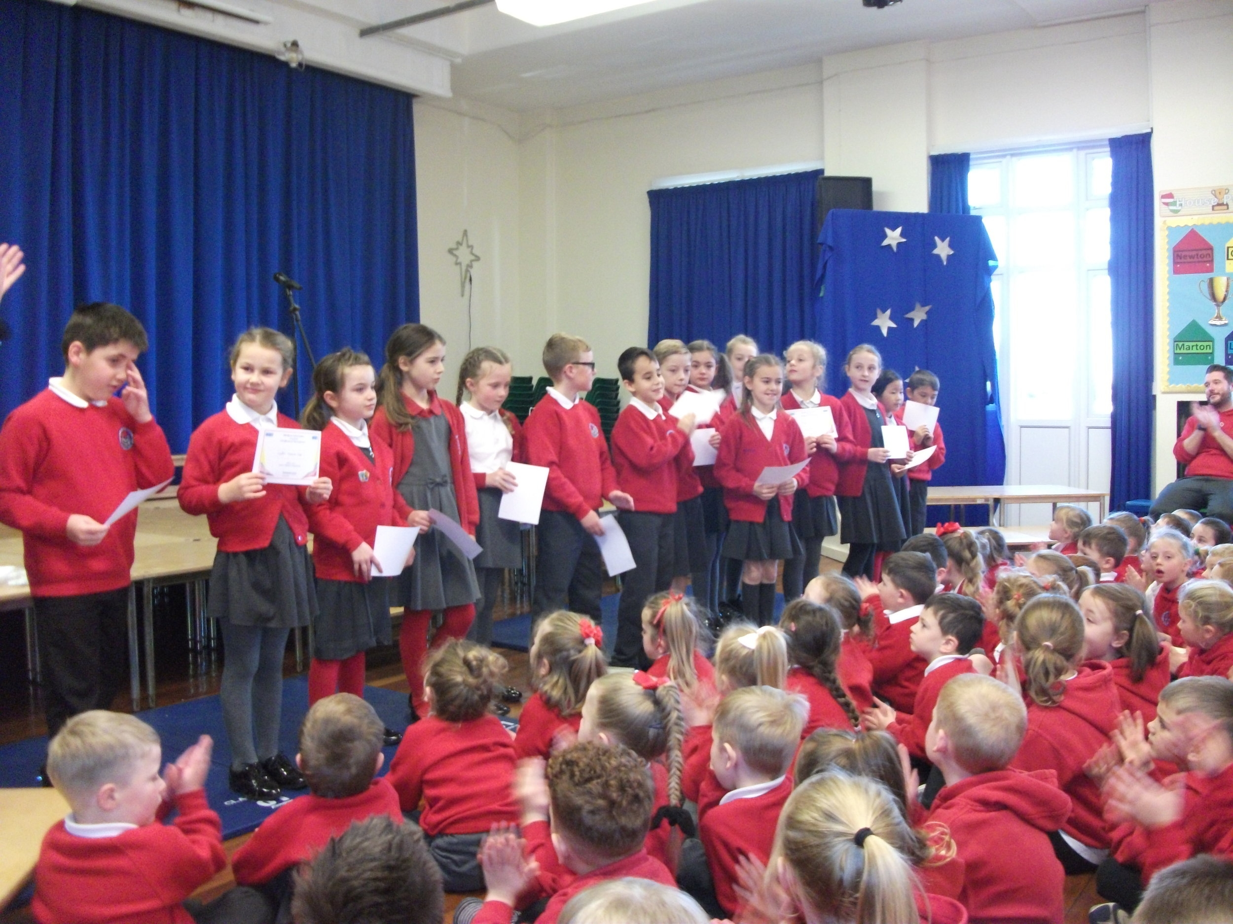Year 3 & Year 4 Athletics Team in assembly