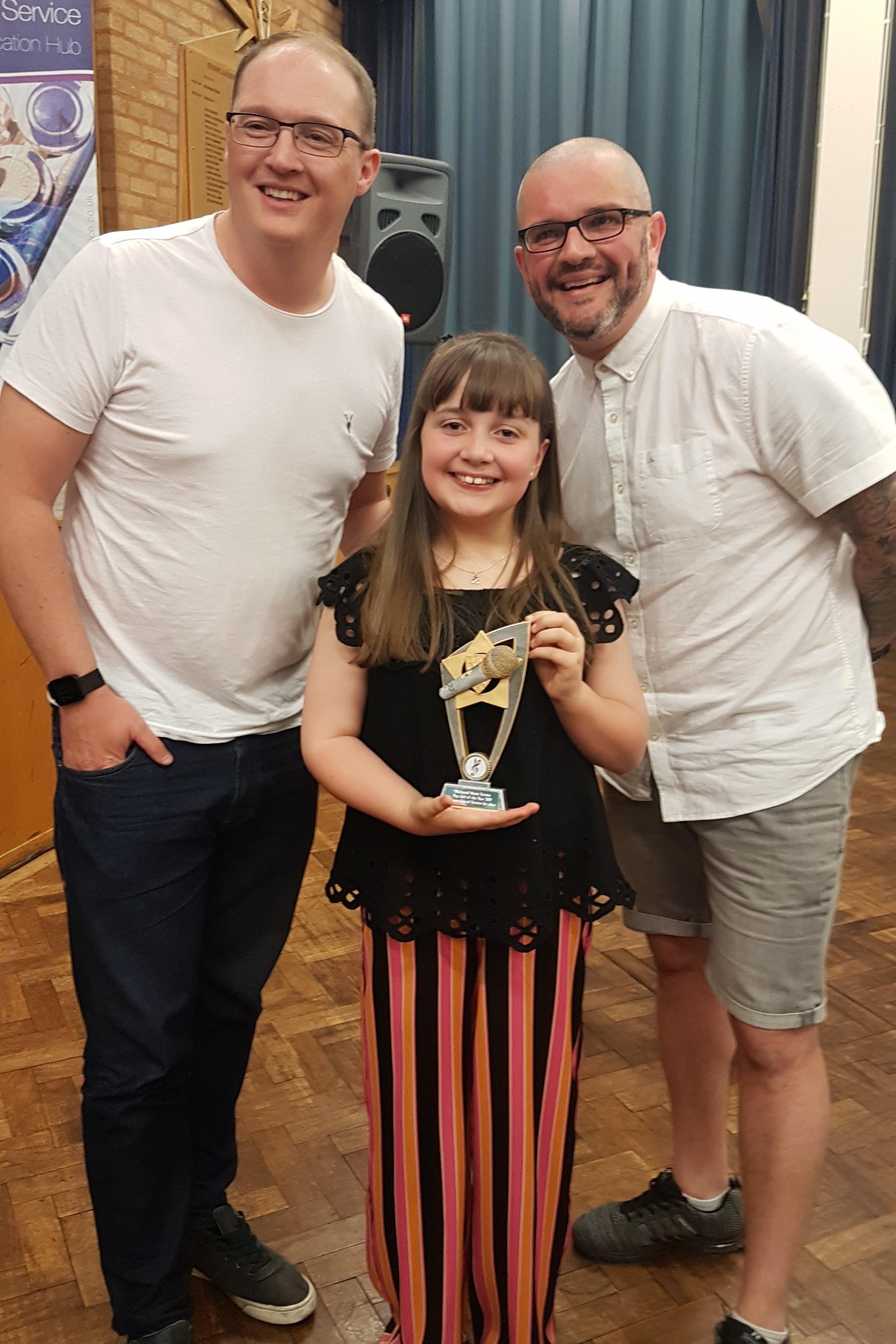 KS2 Pop Idol Winner 2019 with judges Ged Mills and Scott Gallagher