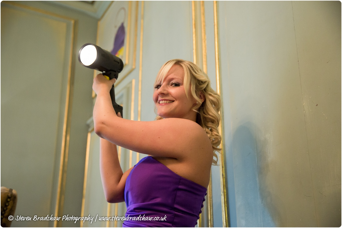 One of my many attractive bridesmaid assistants with the GL1!