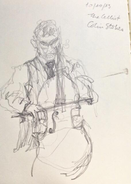 A sketch of the cellist Colin Stokes by the author Teju Cole