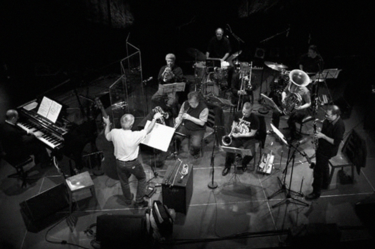 Barry Guy (center) recording  Double Trouble Two  with London Jazz Composers Orchestra.