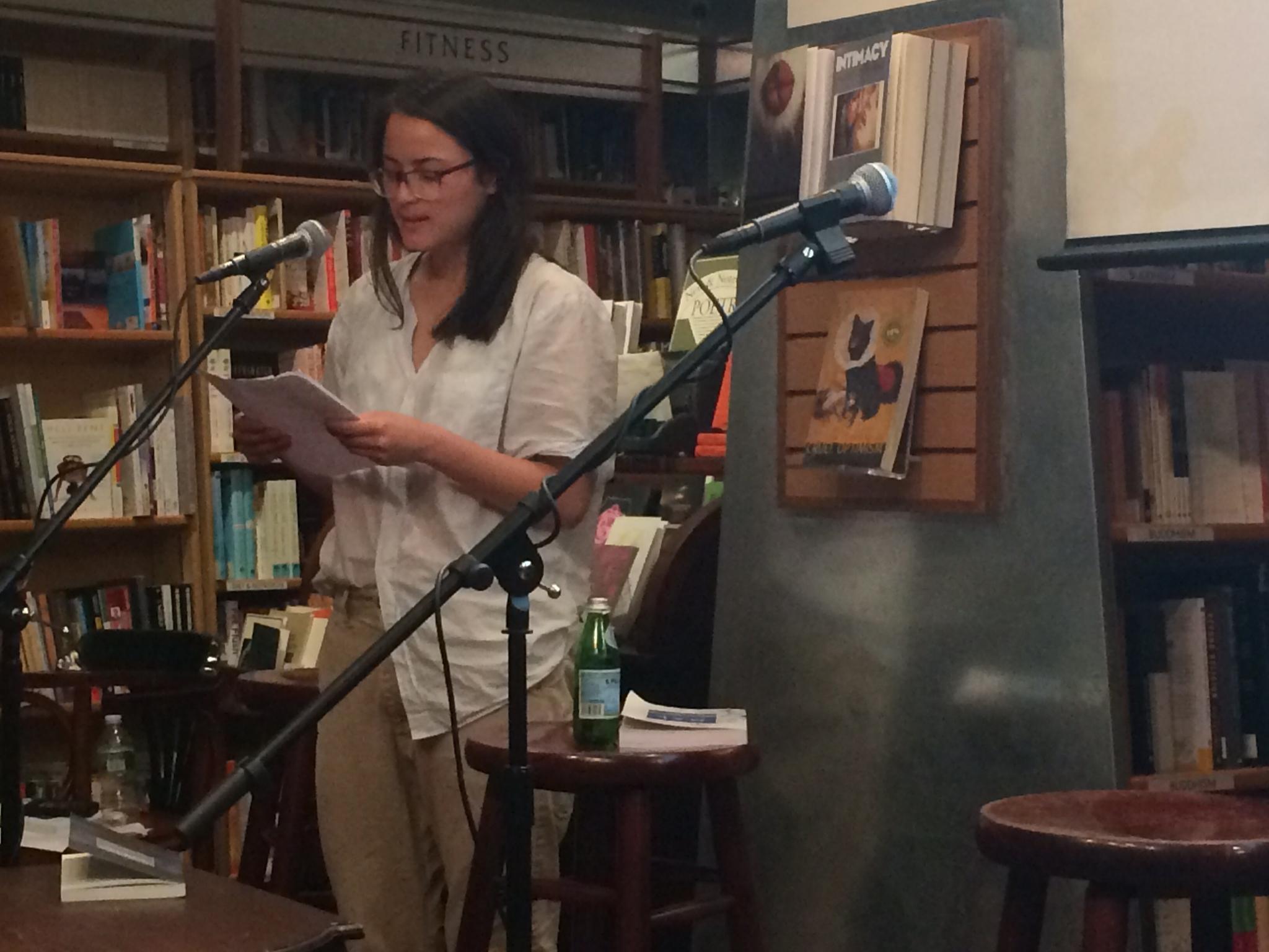 Mieke Chew reading Mary Ruefle's poems at McNally Jackson © Justin Alvarez