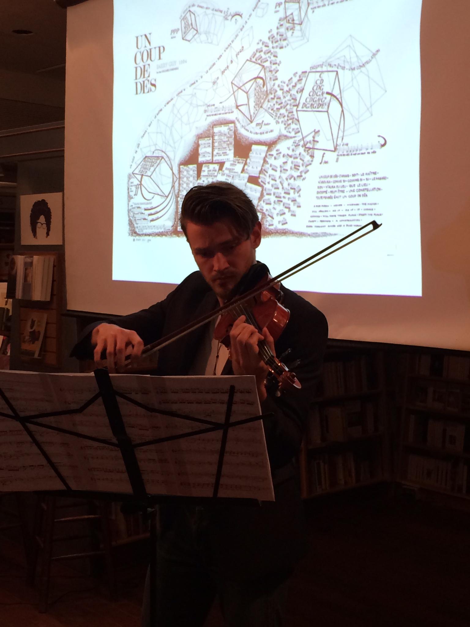 Filip Pogady performs Lysandra  at McNally Jackson. Photo: Justin Alvarez.