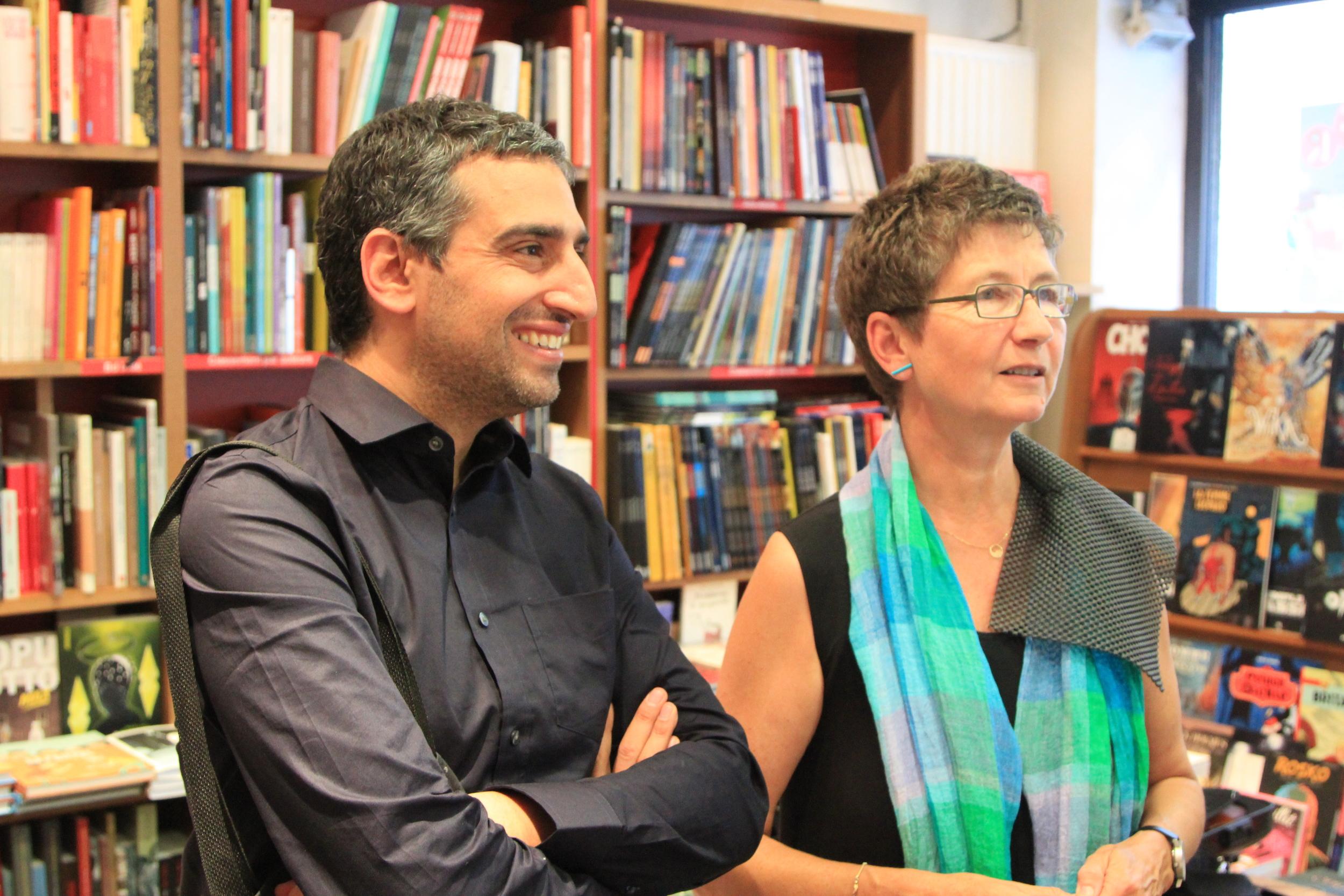 Daniel Medin and Maya Homburger at Le comptoir des mots. Photo: Dan Gunn.