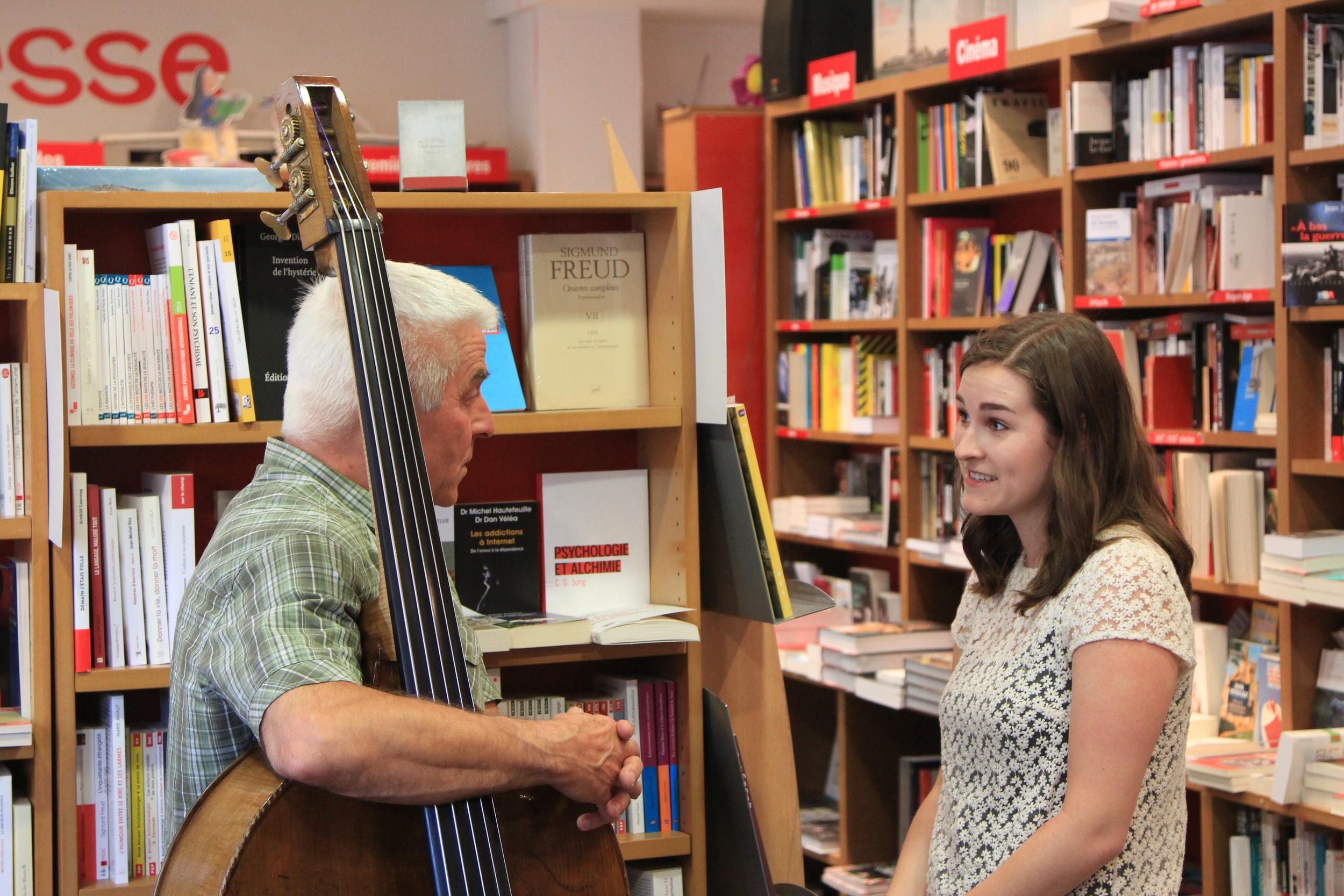 Barry Guy and Chloe Elder talk music prior to the festivities. Photo: Dan Gunn.