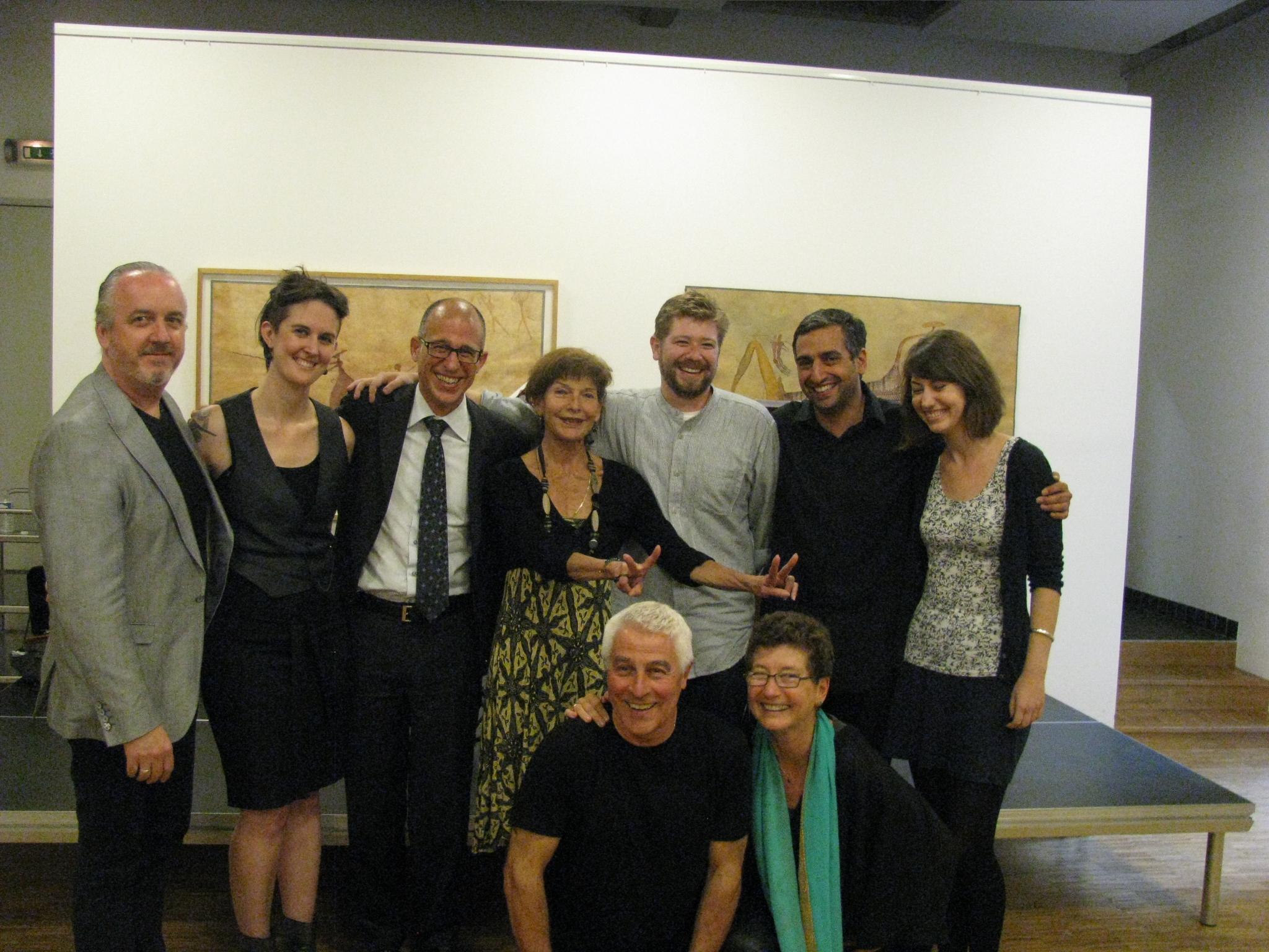 Left to right: Dwyer, Campanello, Tonus, Scheer, Davis-Van Atta, Medin, LaRue, Guy and Homburger (front). 26 June, 2014. Goethe-Institut Paris. Photo: Barra Ó Seaghdha.