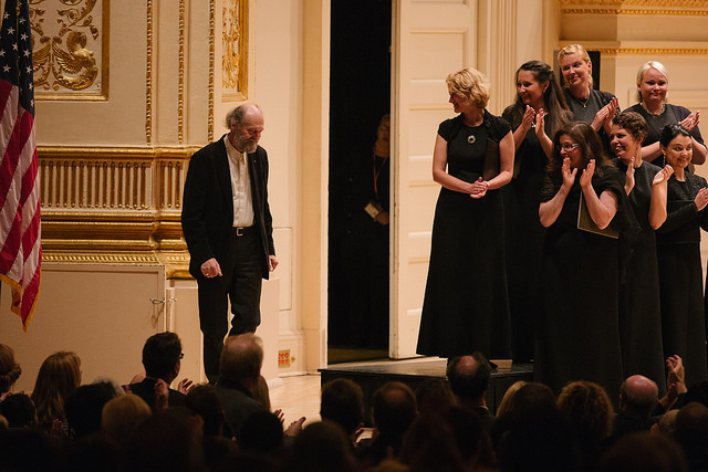 Arvo Pärt is welcomed on stage following the final performance of the evening. Photo: Eleri Ever.