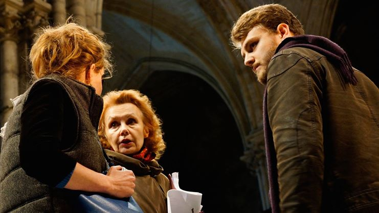 Kaija Saariaho, center, in discussion with Pauline Squelbut (scenographer and stage manager), left, and Aleksi Barrière (stage director), right. Courtesy Isabelle Barrière.