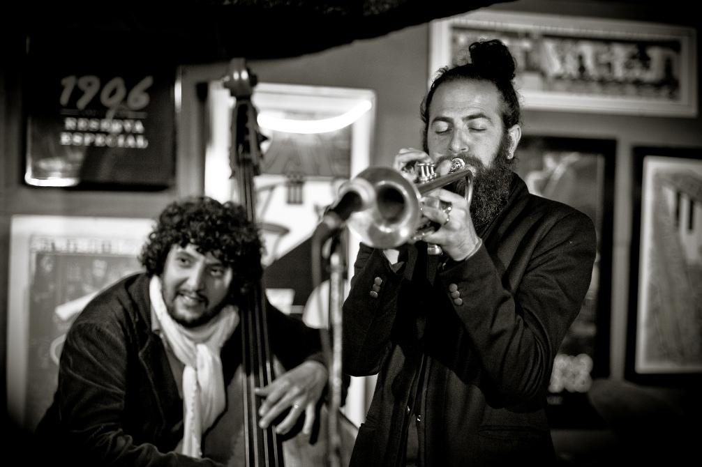 Omer Avital (left, on double bass) and Avishai Cohen. Courtesy Nelson Corsino.