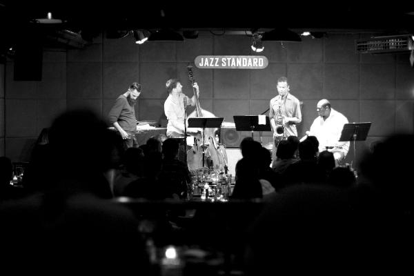 The Mark Turner Quartet. Left to right:  Avishai Cohen, Joe Martin, Mark Turner , Johnathan Blake. Courtesy Jesse Ruddock.