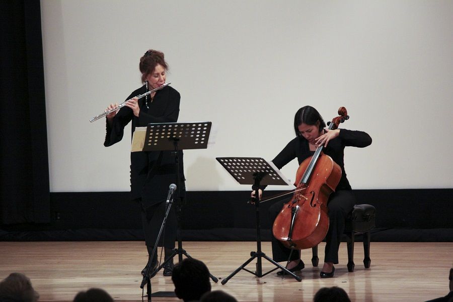 Flutist Camilla Hoitenga and cellist Hannah Collins perform  Mirrors.